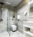 toilet and shower with towels