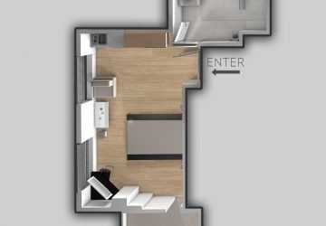 apartment with balcony and city view plan